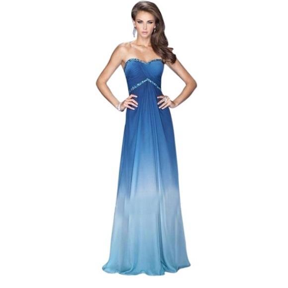 09716faf9e1 New La Femme Blue ombré strapless dress