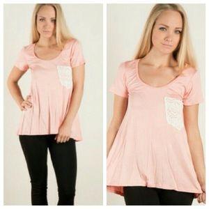 Fashionomics Tops - Jersey Tee w/ Crochet Lace Pocket