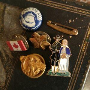 Vintage tiny pins lot military Dutch star eagle