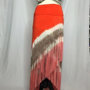 Venus Dresses & Skirts - Tie Die Fringe Boho Maxi Skirt