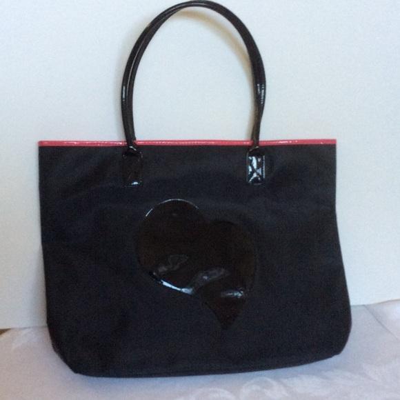 Guess black nylon heart tote bag pink interior