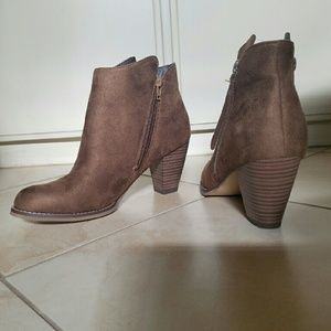 Brown Ankle Boots Faux Suede