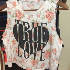 Forever 21 true love roses crop top xs/s
