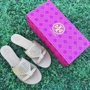 {Tory Burch} Perforated Logo Flat Slides