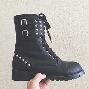 Shoes - Black studded goth combat boots dollskill unif