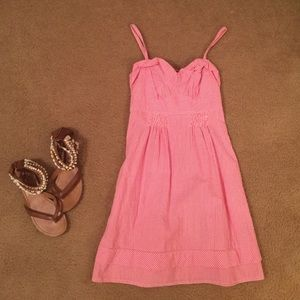 American eagle pink seersucker dress