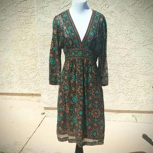 Trina Turk Dresses & Skirts - TRINA TURK Boho Cotton Brown & Turquoise Dress