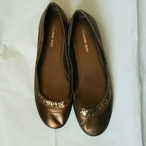 Gianni Bini Metallic Leather Ballet Flats Size 8.5