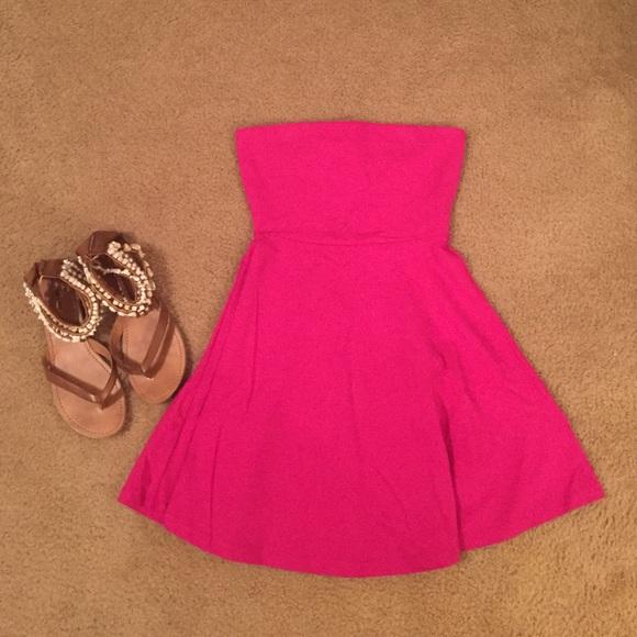92a6c7a269ae Express Dresses   Skirts - Hot pink strapless express skater dress