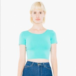 American Apparel Jersey Crop Top Mint Size Small