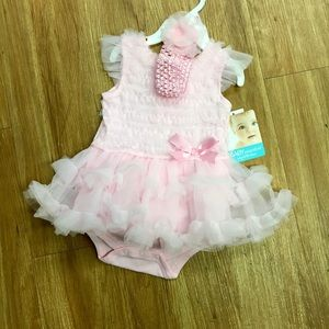Baby Essentials Other - Baby Essentials Pink Fluffy Dress 9 Mo NEW NWT