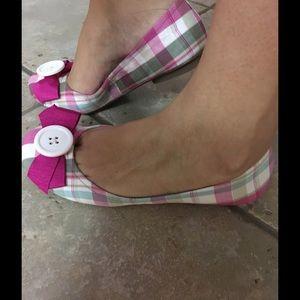 Kensie Girl Pink Plaid Flats