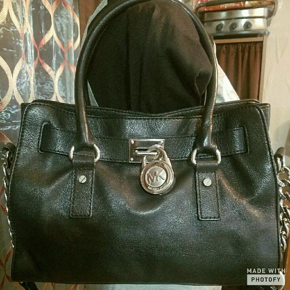 48b39b02f90b79 MICHAEL Michael Kors Bags | Michael Kors Black Hamilton Satchel Hand ...