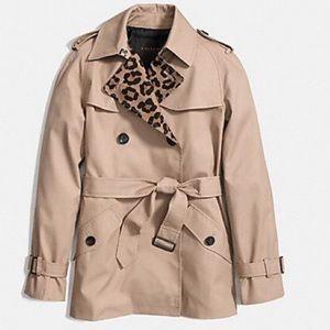 ➳ Coach Ocelot Leopard Short Trench Coat