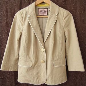 Juicy Couture Women's Cotton Beige Blazer Jacket