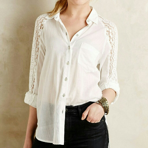 4754cc7d Anthropologie Tops - Anthropologie Holding Horses lace sleeve buttonup