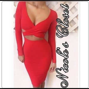 Bodycon Red Cross cross dress with cutouts