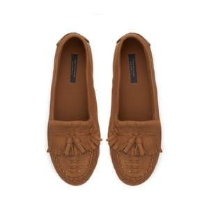 Zara Brown Leather Tassel Loafers Moccasin Flat