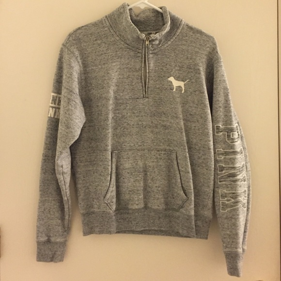 Victoria's Secret - Victoria's Secret pink grey half zip up ...