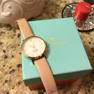 Kate spade classic retro leather strap gold watch