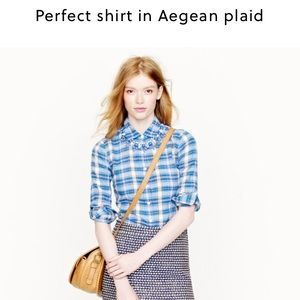 J. Crew Tops - J Crew perfect button down in Aegean plaid