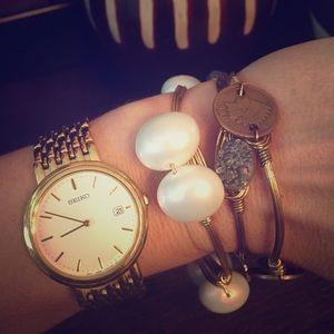 Seiko Accessories - SEIKO Gold White Watch 991259