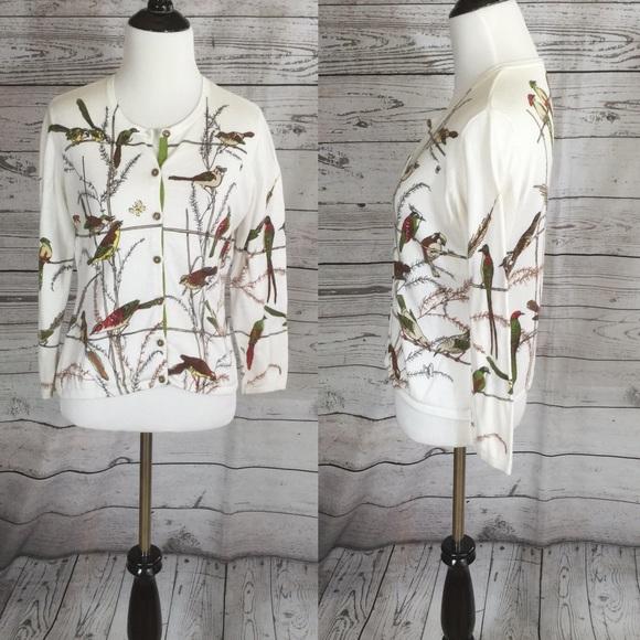 60 Off Cabi Sweaters Cabi Bird Print Cardigan Sweater