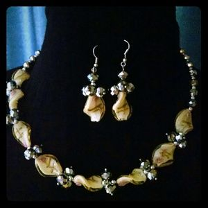 Accessories - Crystal  glass beads leaf, necklace earrings set