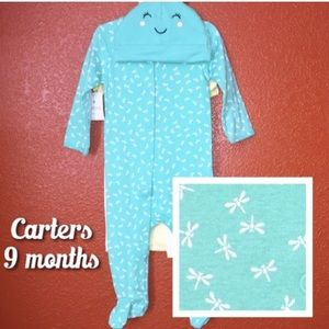 Carters Teal Dragon Fly Bug Pjs  NEW 9 Months