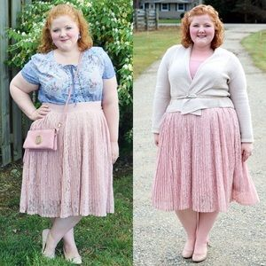 Pink Lace Pleated Skirt