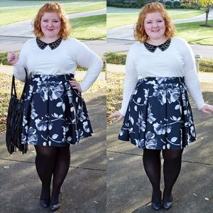 B&W Floral Pleated Skater Skirt