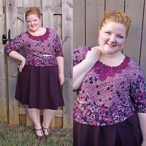 Floral Knit Top with Crochet Collar