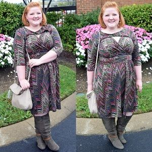 Reptile Print Fit-and-Flare Dress
