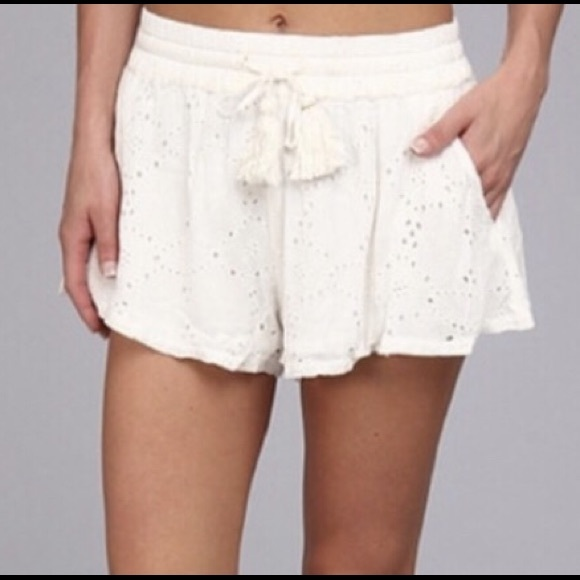 80% off Free People Pants - Free People white flowy eyelet shorts ...