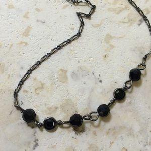 Black glass bead necklace