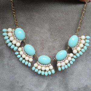 Baby Blue and White Fan Statement Necklace