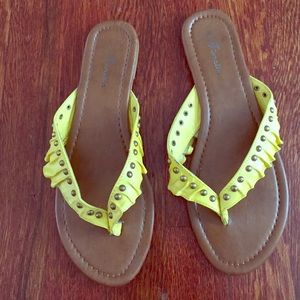 Shoes - Yellow studded ruffle sandals