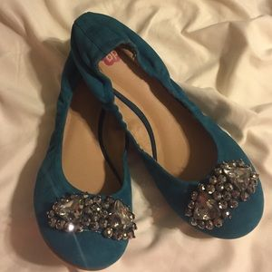 Turquoise suede needs flats
