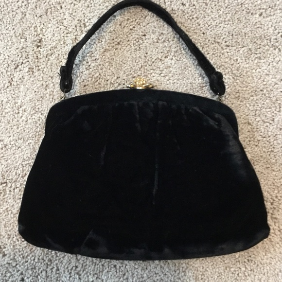 Handbags - Vintage black velvet evening bag