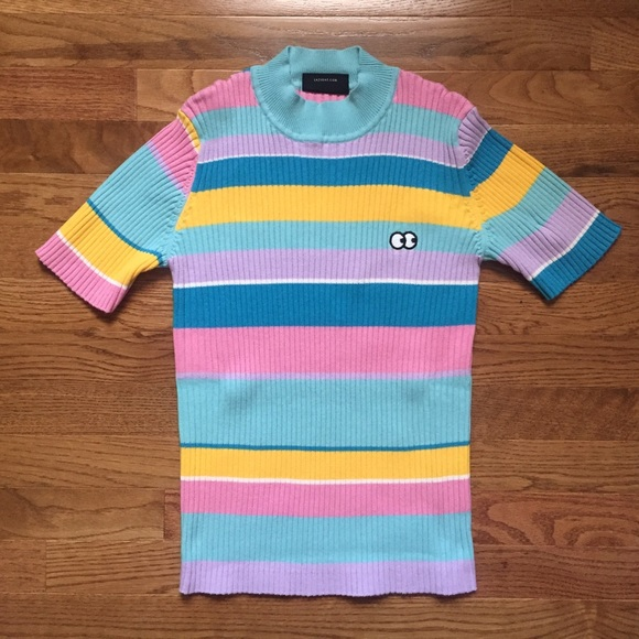 8abc0950a4 Lazy Oaf Rainbow Knitted T-shirt