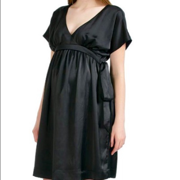 67% off Momo maternity Dresses & Skirts - Black satin like ...