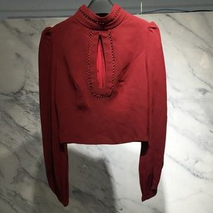 Shaik Top Red/burgundy Long princess sleeve