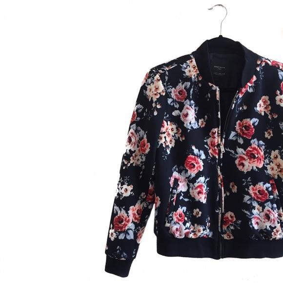 7e128992e • Zara • Floral Bomber Jacket
