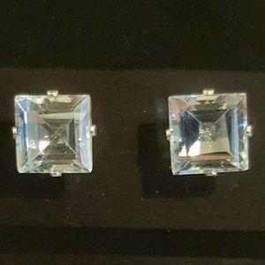 Jewelry - NWOT - Blue Topaz earrings set in SS