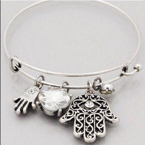 Jewelry - Filagree Hamsa hand bracelet burnished silver