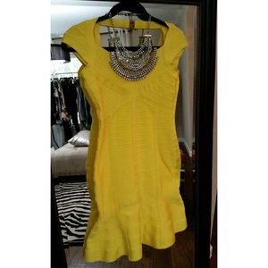Yellow bandage flare dress