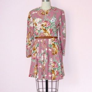 Vintage Floral Printed Party Dress