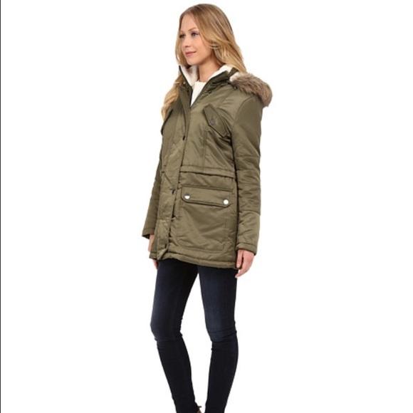 ff715142477 Kenneth Cole olive faux fur trimmed hooded parka