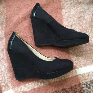 H & M Faux suede wedge pumps.