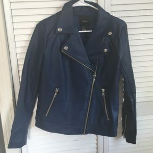 Forever 21 faux leather colbalt blue jacket